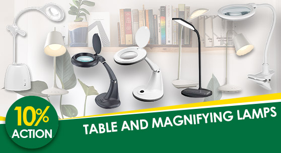 Table and magnifying lamps